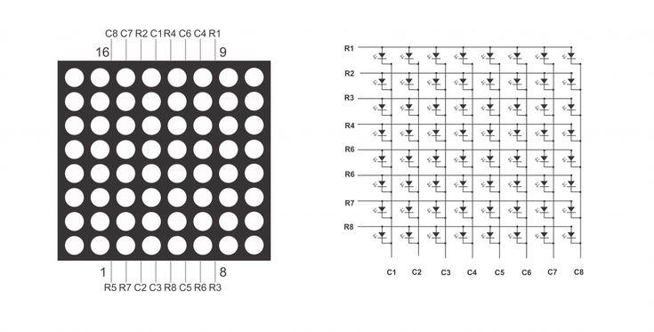 8X8 Matrix Pinout | Led matrix, Arduino circuit, Circuit ...