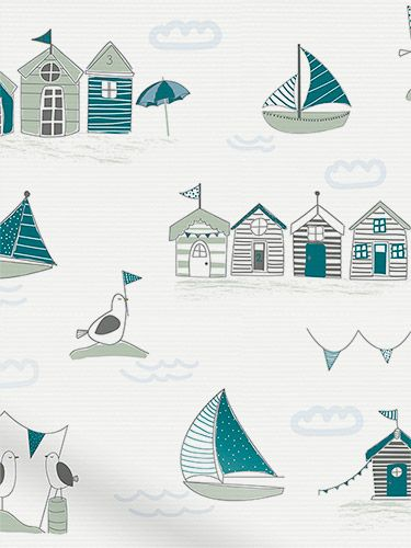 Splash Beach Hut Teal Roller Blind from Blinds 2go might go with my coastal themed kitchen