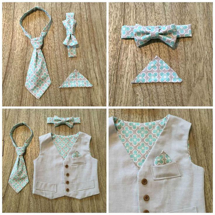 Boys / Baby Vest, Ring Bearer, Photo Prop, Necktie, Bow Tie, Pocket Square by ByJoli on Etsy