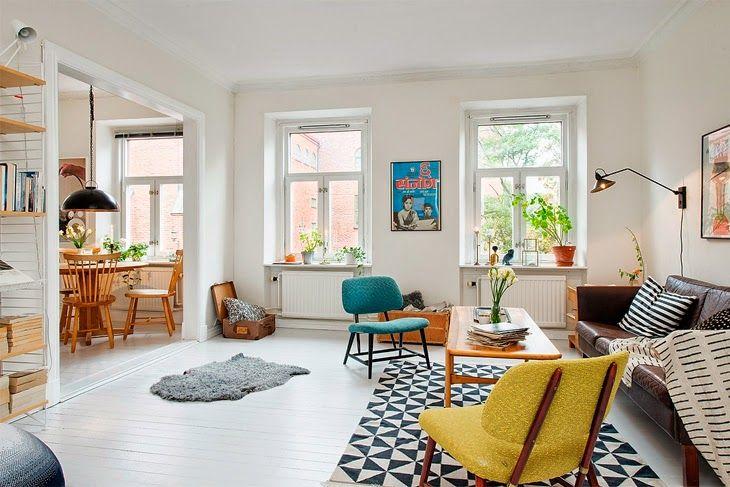 White Interior With An Colorful Retro Accents   Furniture Portal