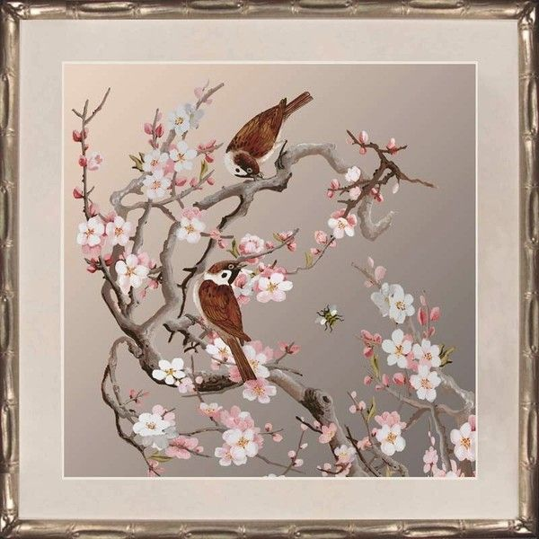 Blossom Birds and Bees Print Silver I ($150) ❤ liked on Polyvore featuring home, home decor, wall art, art, inspirational home decor, inspirational wall art, flower home decor, silver wall art and anchor wall art