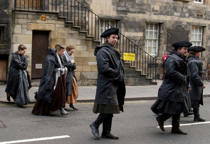 Cast of Outlander spotted in costume while filming in Edinburgh, right outside Gordon Nicolson Kiltmakers Canongate Store !