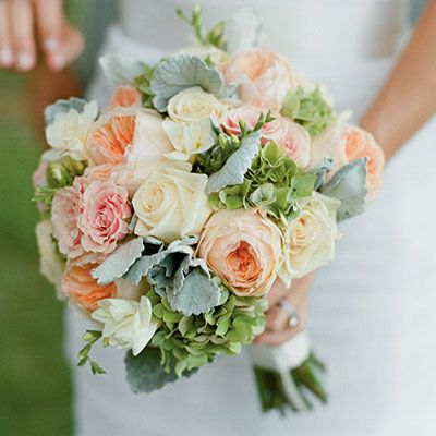 Dusty Miller | Colors: green, silver | Season: all seasons | A bouquet of roses, hydrangeas, and dusty miller. (Southern Living)