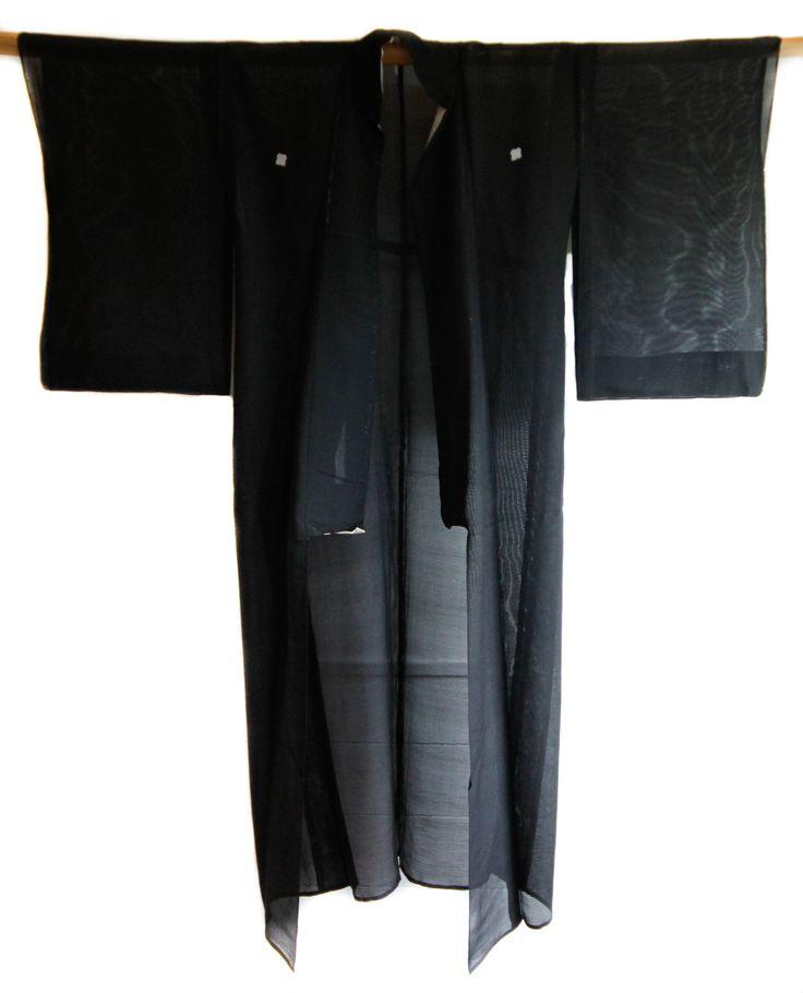 Black Filmy Kimono Japanese Vintage Robe, Boho Jacket, Festival Wear, Gown, Bourdoir, Coverup, Summer Outfit, Lounge Wear, Gifts Under 100 by CJSTonbo on Etsy