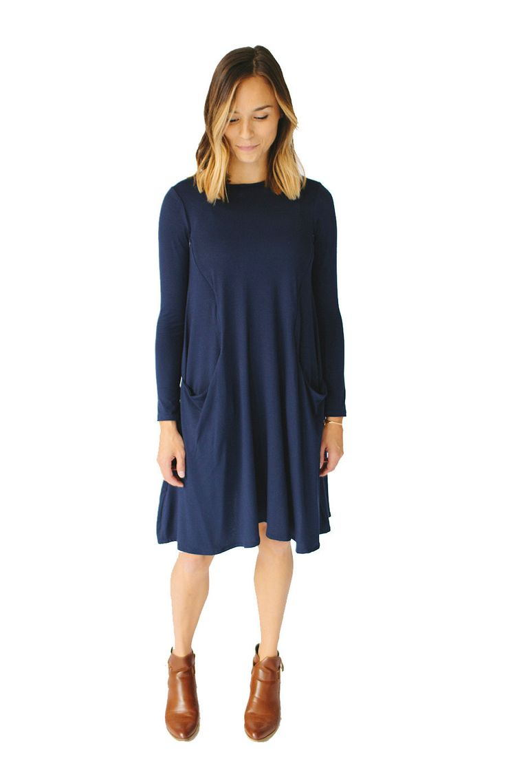 Long Sleeve Swing Nursing Dress by Harper and Bay- Navy, $88