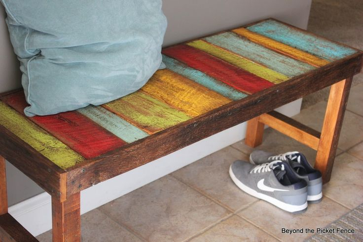 Colorful, Rustic Bench - Beyond The Picket Fence