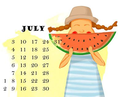 Series of illustrations for children's funny calendar,  little girl in different months of the year