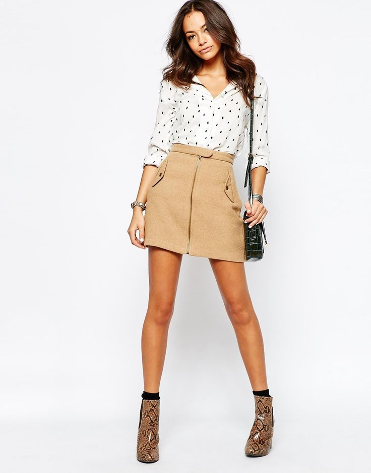 Image 1 ofNew Look Zip Front Military Skirt