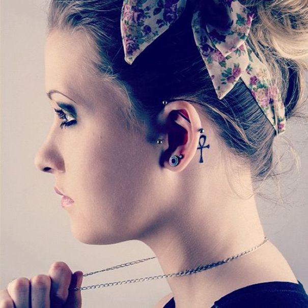 ankh tattoo behind ear