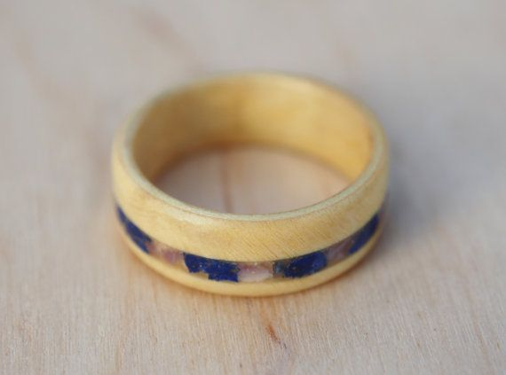 Box elder wood ring with lapis lazuli and amethyst by MoonLoops