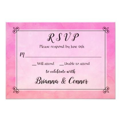 Simply Pink Watercolor Wedding RSVP Response Reply Card - reply diy cyo unique personalize customize