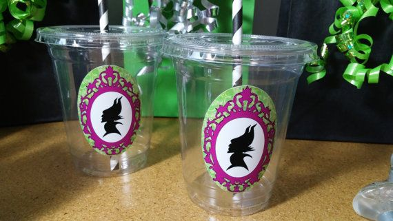 Maleficent Birthday Party Cups Favors 10pc by FestiveCupboard