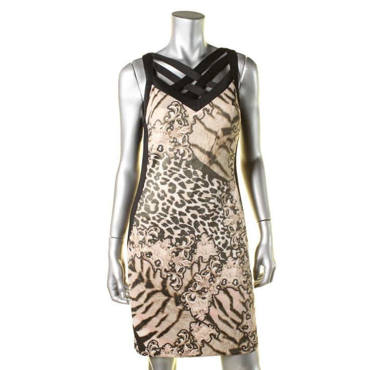 Thalia Sodi Womens Criss-Cross Neck Animal Print Party Dress