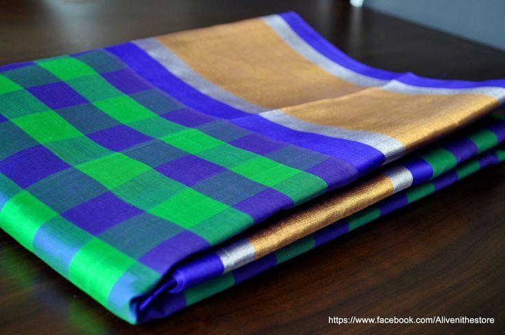 Handwoven Green and Blue Checks Assam Pattu Saree with Broad Bronze/Blue/Silver Border