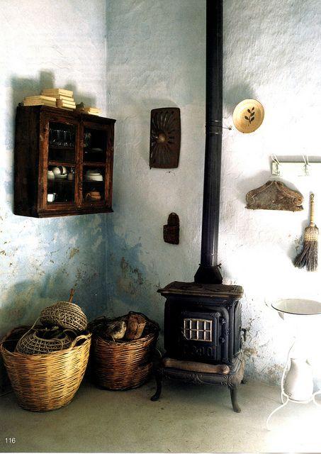 stove and baskets: Wall Colors, Old Stove, Wood Burning Stove, Kitchens Design, Woodburning, Baskets, Design Kitchens, In This Houses, Wood Stove