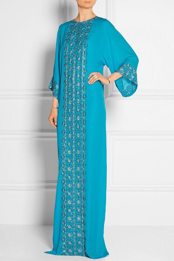 Oscar de la Renta Oscar De La Renta Embellished Silk-Chiffon Gown