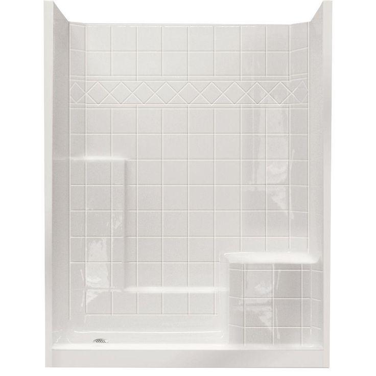 Ella Standard 32 in. x 60 in. x 77 in. Walk-In Shower Kit in White with Low Threshold