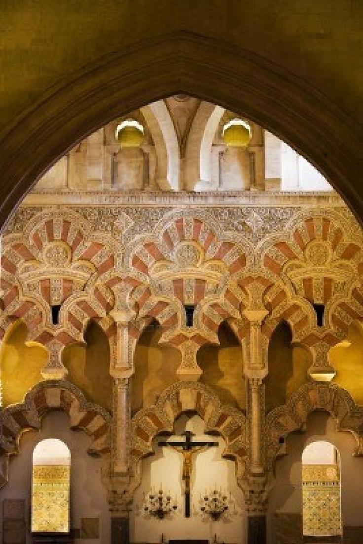Muslim ornate interior architecture of Capilla de Villaviciosa in The Great Mosque  Mezquita Cathedral  with Christian crucifix in Cordoba, Spain  Stock Photo - 15055651