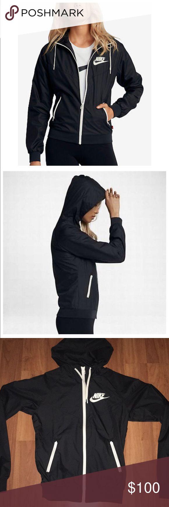 Nike Windrunner Original😍 Size xs, never worn. Nike windrunner jacket in black with white accents. NWOT Nike Tops Sweatshirts & Hoodies