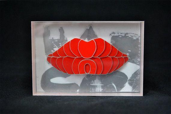 3D - červené pery - Vinyl - plexisklo - Silver - Home Decor - Grunge - Valentin