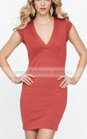 Sheath V-neck Knee-length Polyester Natural Formal Dresses gt3164--Hodress