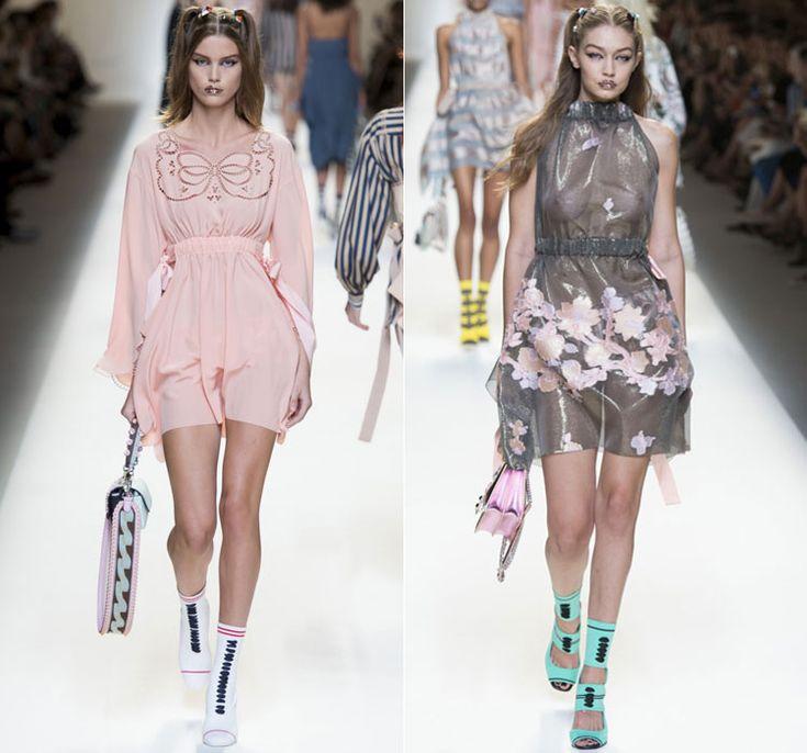 Розовые и серые короткие платья от Fendi Весна-Лето 2017 Ready to wear