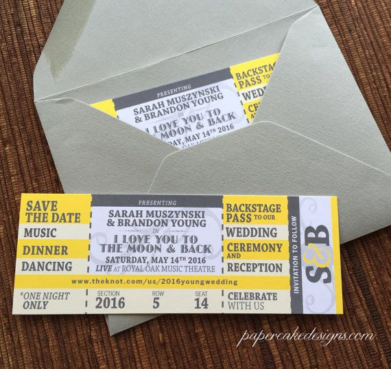 Concert Save The Date Ticket With Envelope / Wedding Birthday Bat/Bar  Mitzvah. Ticket InvitationInvitation TemplatesWedding ...  Concert Ticket Invitations Template