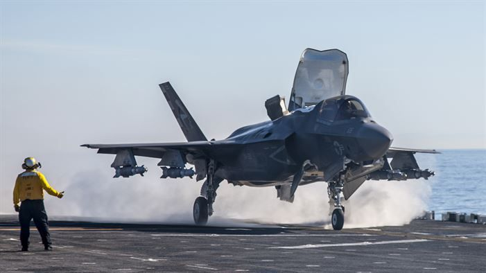An F-35B Lightning II short takeoff/vertical landing aircraft conducts test operations on the flight deck of amphibious assault ship USS America. The highly diverse cadre of Pax River Integrated Test Force technicians, maintainers, engineers, logisticians, support staff and test pilots are embarked for the third and final developmental test phase of F-35B carrier suitability and integration.