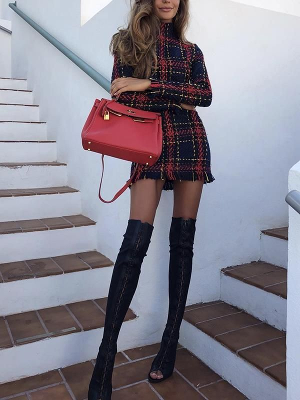 New Red Plaid Tassel High Neck Going out Sweet Mini Dresses