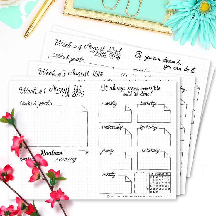 AUGUST WEEKLY SPREADS - 15 FREE PRINTABLE CALENDAR PAGES FOR YOUR BULLET JOURNAL AUGUST SETUP 2016 // A new addition to my Bullet Journal, which only my email subscribers have seen so far. I have read and listened to Brian Tracy's 'Eat That Frog multiple times in the past month and I'm super excited to give his system a try. This includes next to my already existing Master List, Monthly Tasks and Daily Tasks (which are in my Paperblanks Dayplanner) also Weekly Tasks. So here we go! The big…