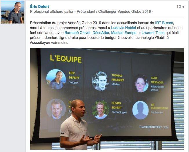 Présentation du projet Vendée Globe 2016 par Eric Defert dans les locaux de IRT B-Com. DécoAder est partenaire de cette aventure !