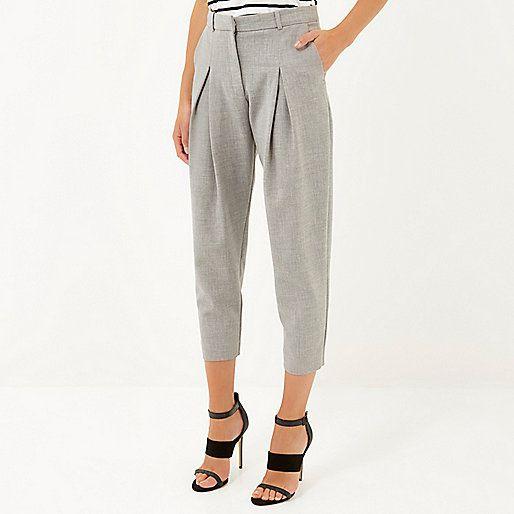 Grey peg leg trousers - cropped trousers / joggers - trousers - women £38 #riverisland