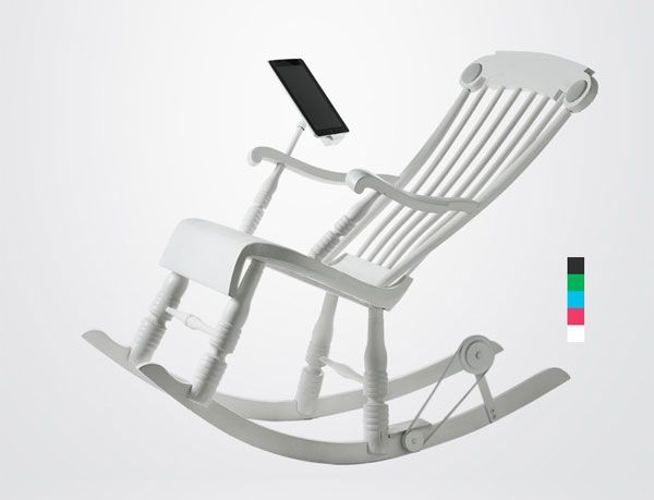 Power Generating Rocking Chair by Micasa LAB: Charge your iPad as you rock. #Rocking_Chair #iPad rad technology. $1300