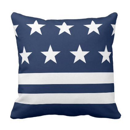 Blue and White Stars and Stripes Nautical Throw Pillow - pattern sample design template diy cyo customize