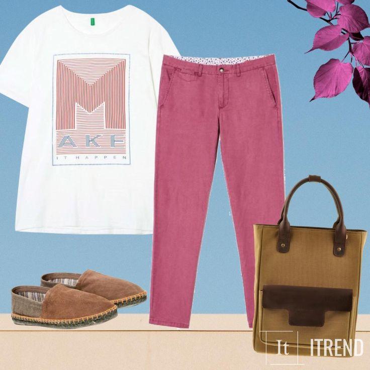 Быть ярче становится еще проще, когда в гардеробе есть правильные вещи. Эспадрильи, объемная сумка, яркие брюки и футболка создадут вокруг тебя атмосферу творческой легкости и приятного безделья.
