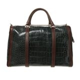 Green & Brown Italian Leather Holdall Bag