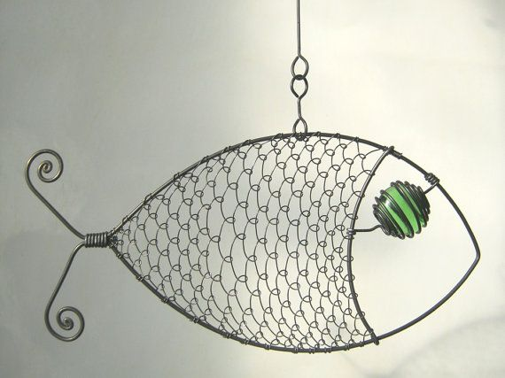 Fish Mobile Wire Art Sculpture by MyWireArt on Etsy