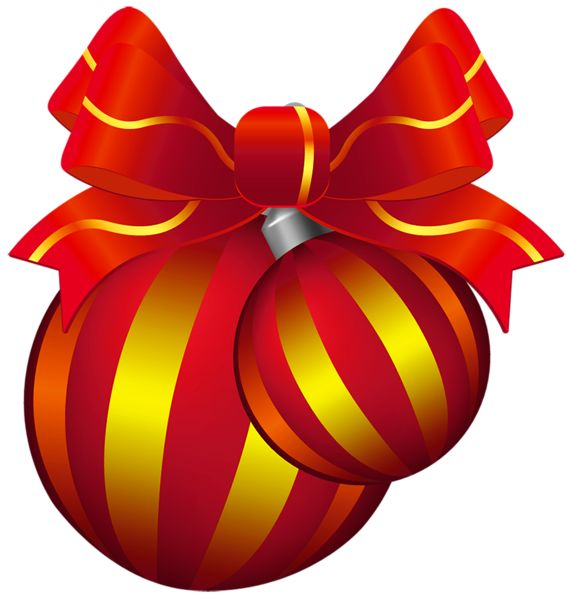 Two Transparent Red and Yellow Christmas Ball PNG Clipart
