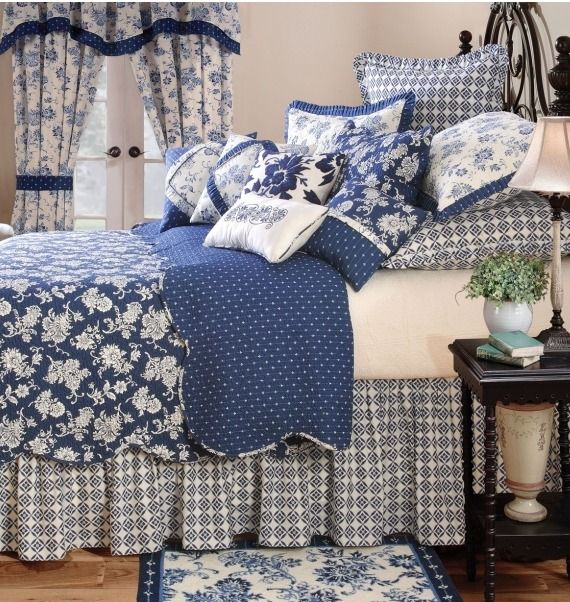 My Favorite Bedroom In The World Turkish Bedroom Mixing: Cottage ♥ Blue & White Mixed Pattern Bedroom