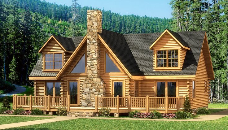 My favorite one grand lake log home plan southland for Lake cabin kits