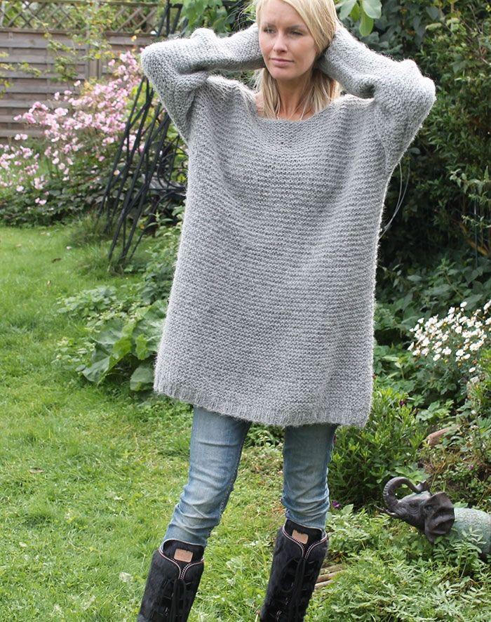 strikkeopskrift til oversize strik sweater i ren alpaca