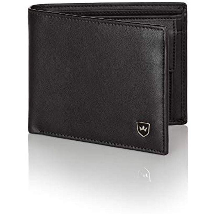 Herren Geldbörse Echt Nappa Leder Schwarz Portemonnaie Geldbeutel Brieftasche