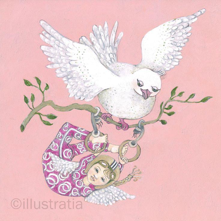 Acrylschildering op paneel 30x30 cm. Uit de 8-delige serie: 'angelical antics.' titel: ' bird's nest'