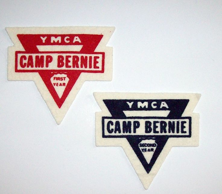 "Vintage YMCA CAMP BERNIE First Second Year Felt Patches Badges 4.5"" X 4"""