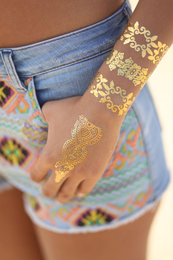 Metallic Temporary Jewelry Tattoos, Gold Tattoos by ...