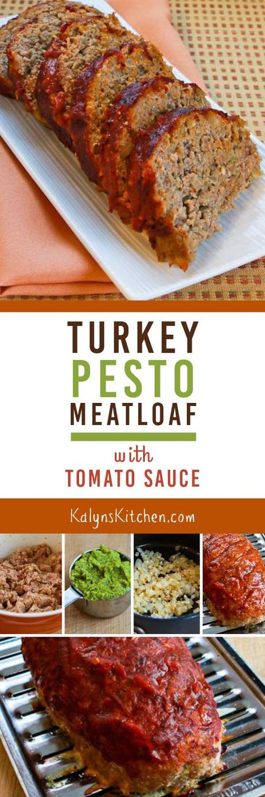 Turkey Pesto Meatloaf with Tomato Sauce is a delicious variation on turkey meatloaf, and this is loaded with flavor! [found on KalynsKitchen.com]