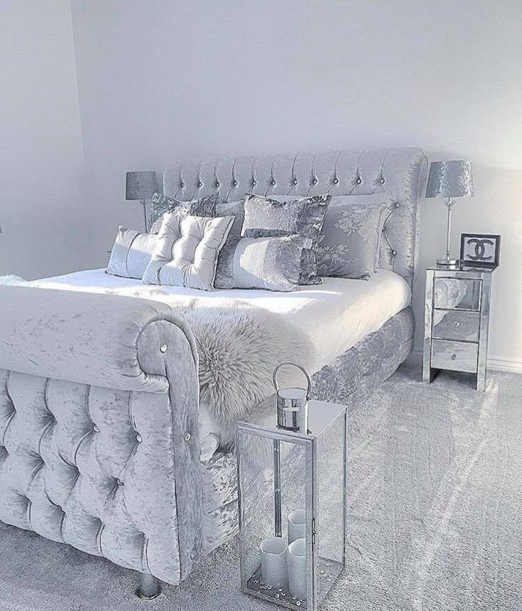Grey Sleigh Bed In Velvet With Silver Satin Sheets Pillows W