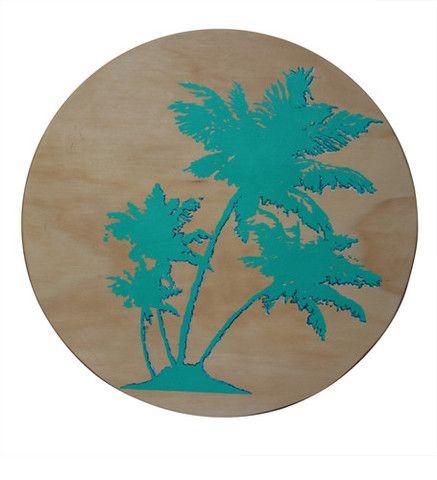 hello yellow - Aqua Palm Trees Wooden Porthole -The Chroma Club