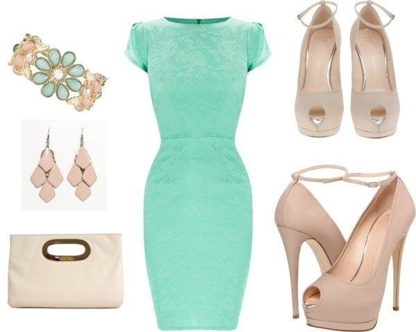 Mint dress + beige shoes and accessories= YES please ...