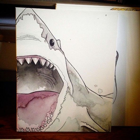 Great White Shark Watercolor Painting by TaraTominaga on Etsy